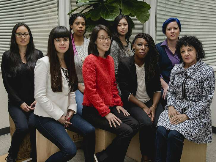 The members of Project Include, all prominent women in Silicon Valley, in Oakland, Calif., April 26, 2016. The nonprofit effort, announced on May 3, will collect and share data to help diversify the rank-and-file employees who make up tech companies. From left: Susan Wu, Laura Gomez, Erica Baker, Ellen Pao, Tracy Chou, Y-Vonne Hutchinson, Bethanye McKinney Blount, and Freada Kapor Klein. (Damien Maloney/The New York Times)