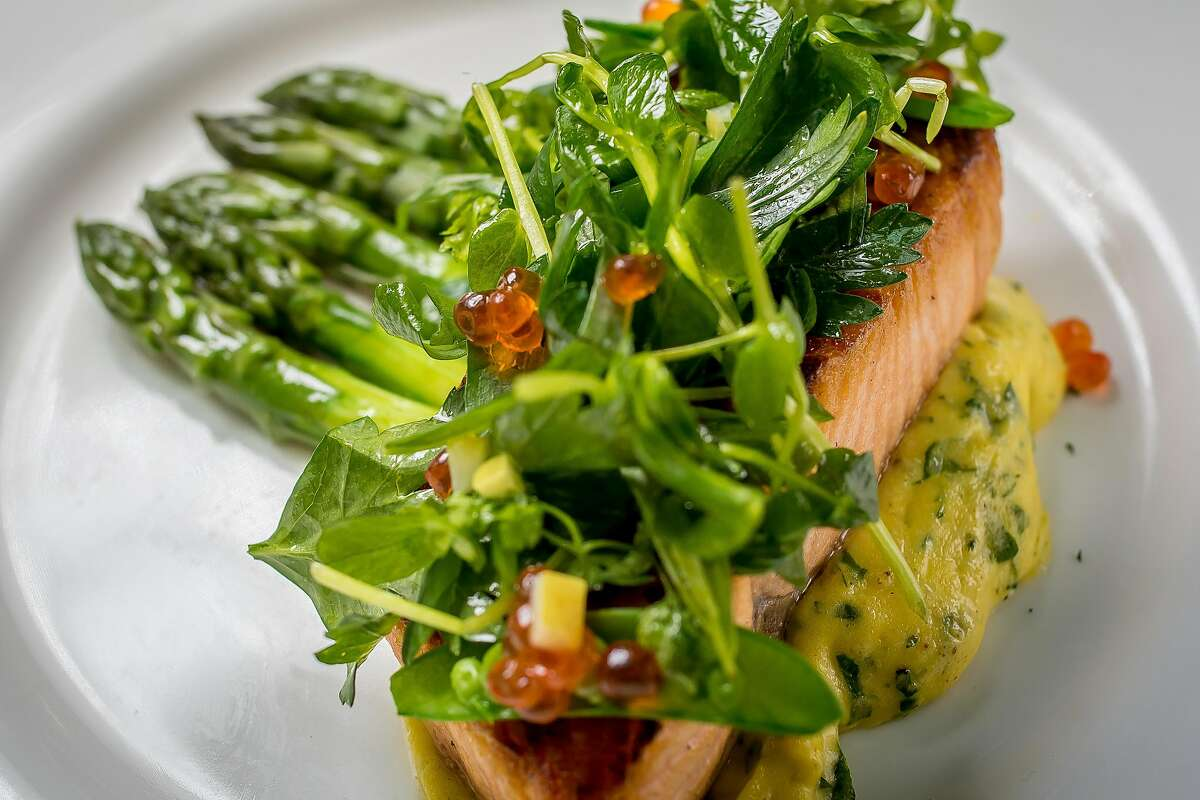 The pan seared Salmon at Leo's Oyster Bar in San Francisco, Calif., is seen on May 2nd, 2016.