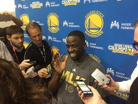 Draymond Green clowns around with the media after practice prior to Game 2 of the Western Conference Semifinals against Portland, to be played in Oakland on May 3, 2016.