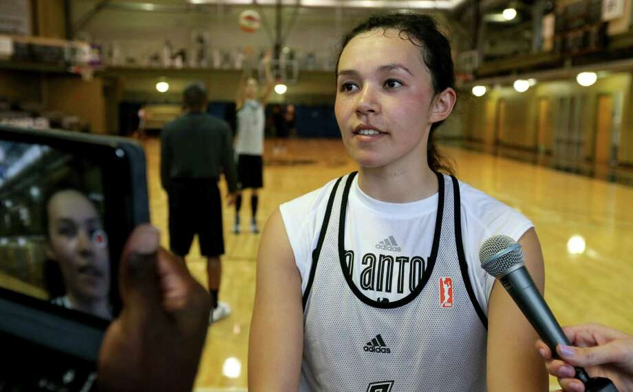 San Antonio Stars' Kelsey Minato answers questions from the media after the first on-court day of training camp held Monday April 25, 2016 at the Antioch Sports Complex. Photo: Edward A. Ornelas /San Antonio Express-News / © 2016 San Antonio Express-News