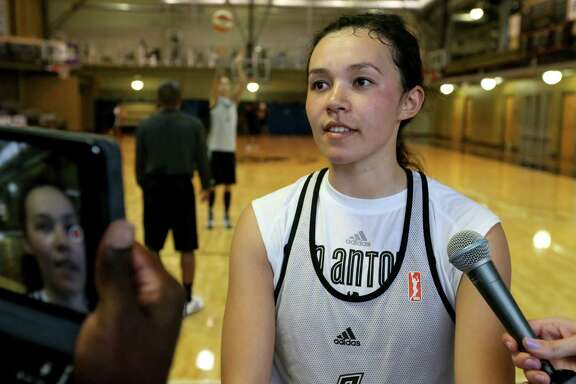 San Antonio Stars' Kelsey Minato answers questions from the media after the first on-court day of training camp held Monday April 25, 2016 at the Antioch Sports Complex.