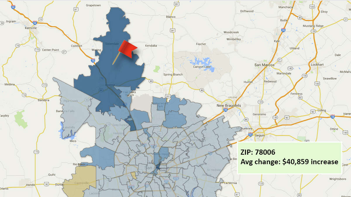ZIP code: 78006Data available from the Bexar Appraisal District shows how much the average residential value changed in each area ZIP code in 2016.