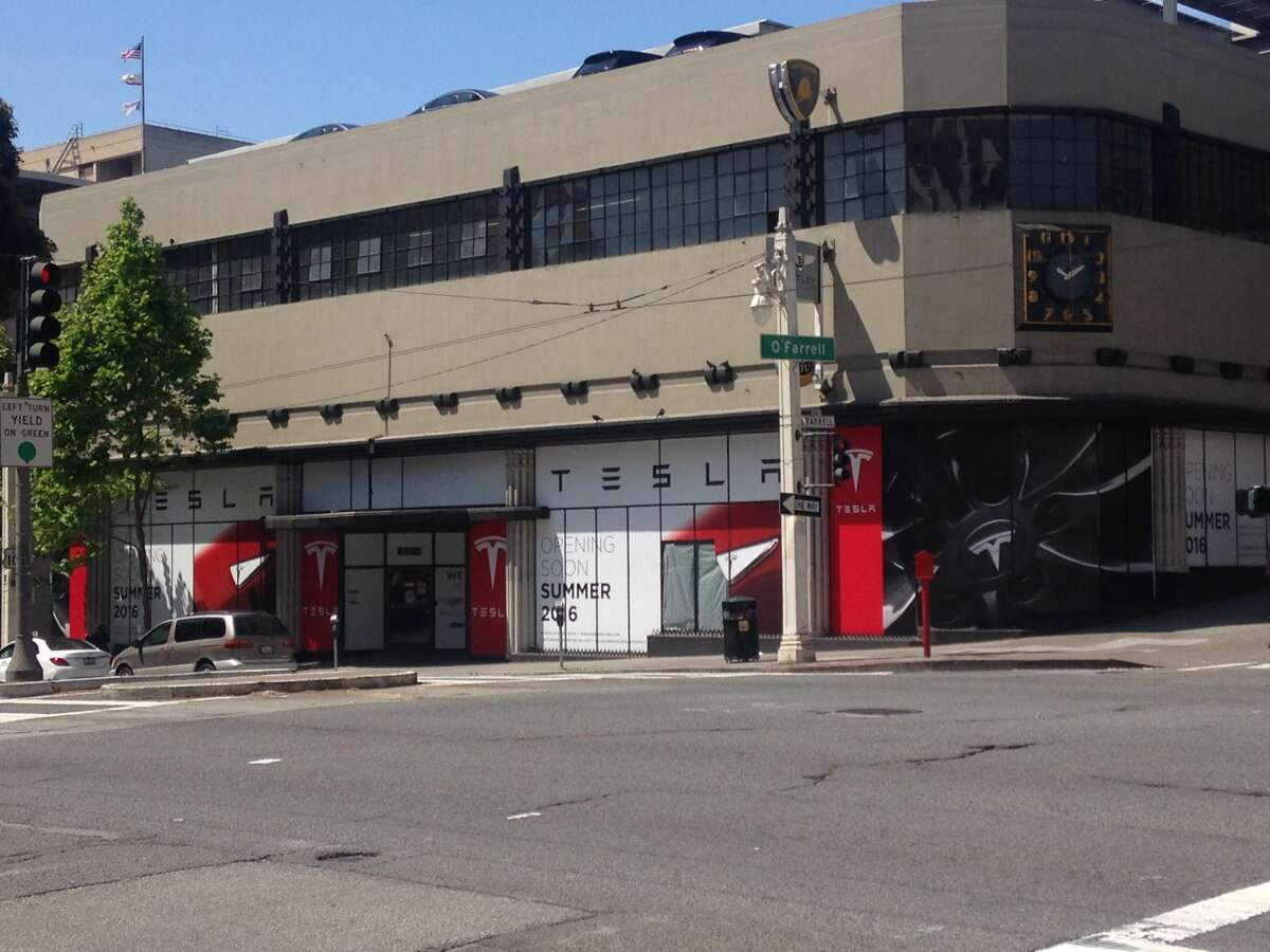 The future Tesla electric car showroom on Van Ness Avenue is expected to open during Summer 2016.