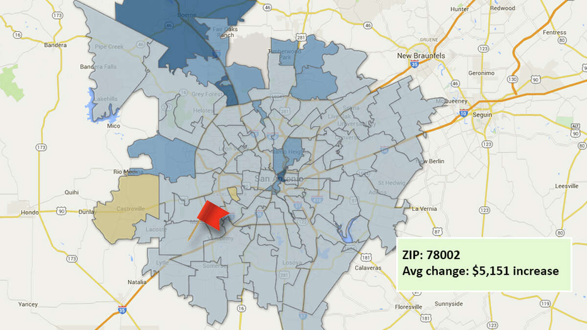 ZIP code: 78002Data available from the Bexar Appraisal District shows how much the average residential value changed in each area ZIP code in 2016.Light blue: $1,000 to $20,000 increase Medium blue:$20,000 to $40,000 increase Dark blue: increase more than $40,000Tan: Decrease in home value