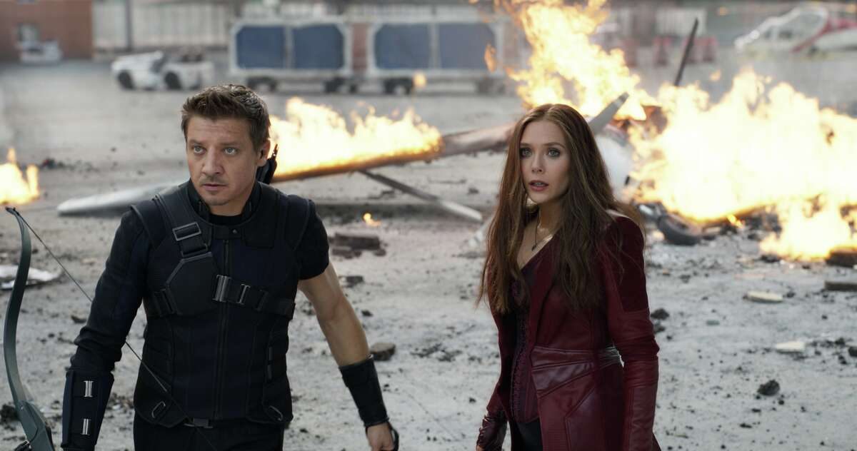 Jeremy Renner) and Wanda Maximoff in a still from Marvel's Captain America: Civil War.