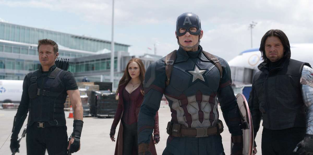 Jeremy Renner, Elizabeth Olsen, Chris EvansSebastian Stan in a still from Marvel's Captain America: Civil War.