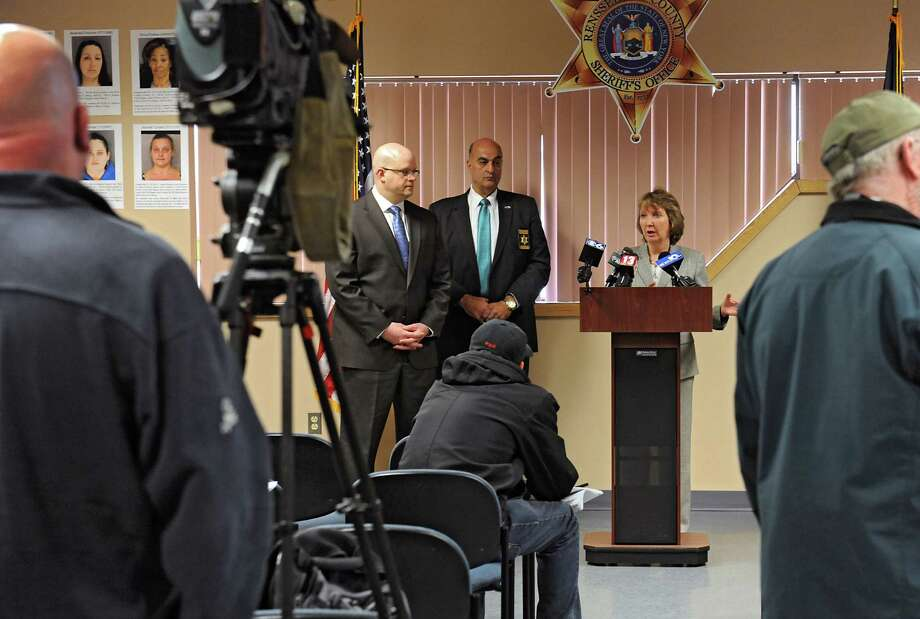 Rensselaer County Executive Kathy Jimino announces nine individuals were charged with crimes that defrauded various Public Assistance programs of over $43,000 during a press conference at the Rensselar County Jail on Tuesday, May 3, 2016 in Troy, N.Y. Seven of those charged have been arrested. (Lori Van Buren / Times Union) Photo: Lori Van Buren / 20036452A