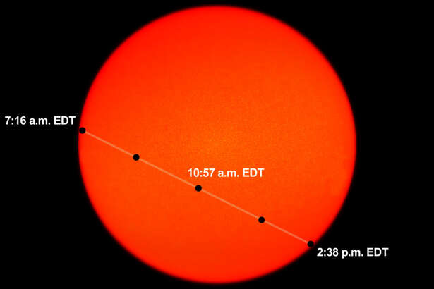 The diagram above illustrates where Mercury will appear against the backdrop of the sun at various times during the May 9 transit.