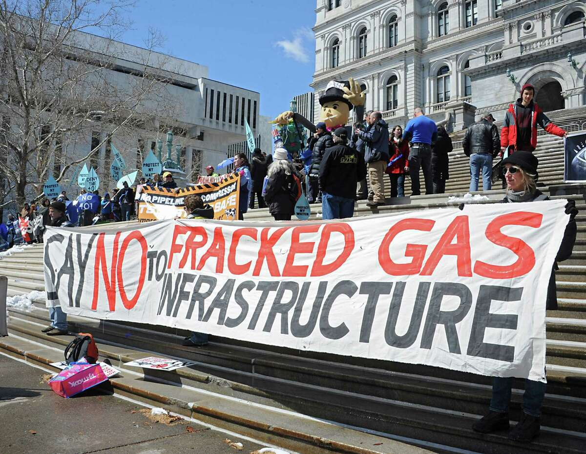 People gather for a rally against the Constitution Pipeline at the New York State Capitol on Tuesday, April 5, 2016 in Albany, N.Y. (Lori Van Buren / Times Union) ORG XMIT: ALB1604051512098441