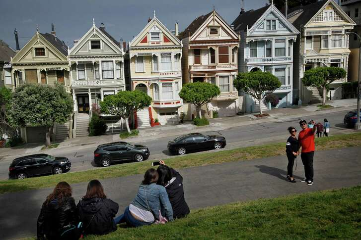 "Home prices are still  sky-high  in much of California, including  San Francisco's Alamo Square, which features the famous ""Painted Ladies."""