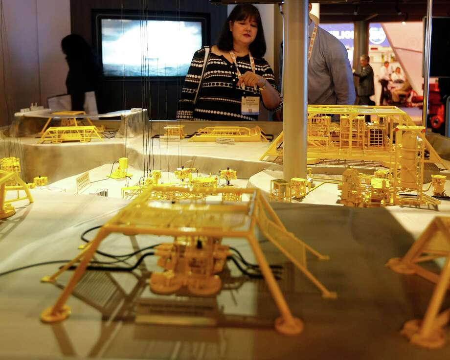 Lots of models are on display at the Offshore Technology Conference.  Oil supplies are large and only falling slowly. Photo: Karen Warren, Staff / © 2016 Houston Chronicle