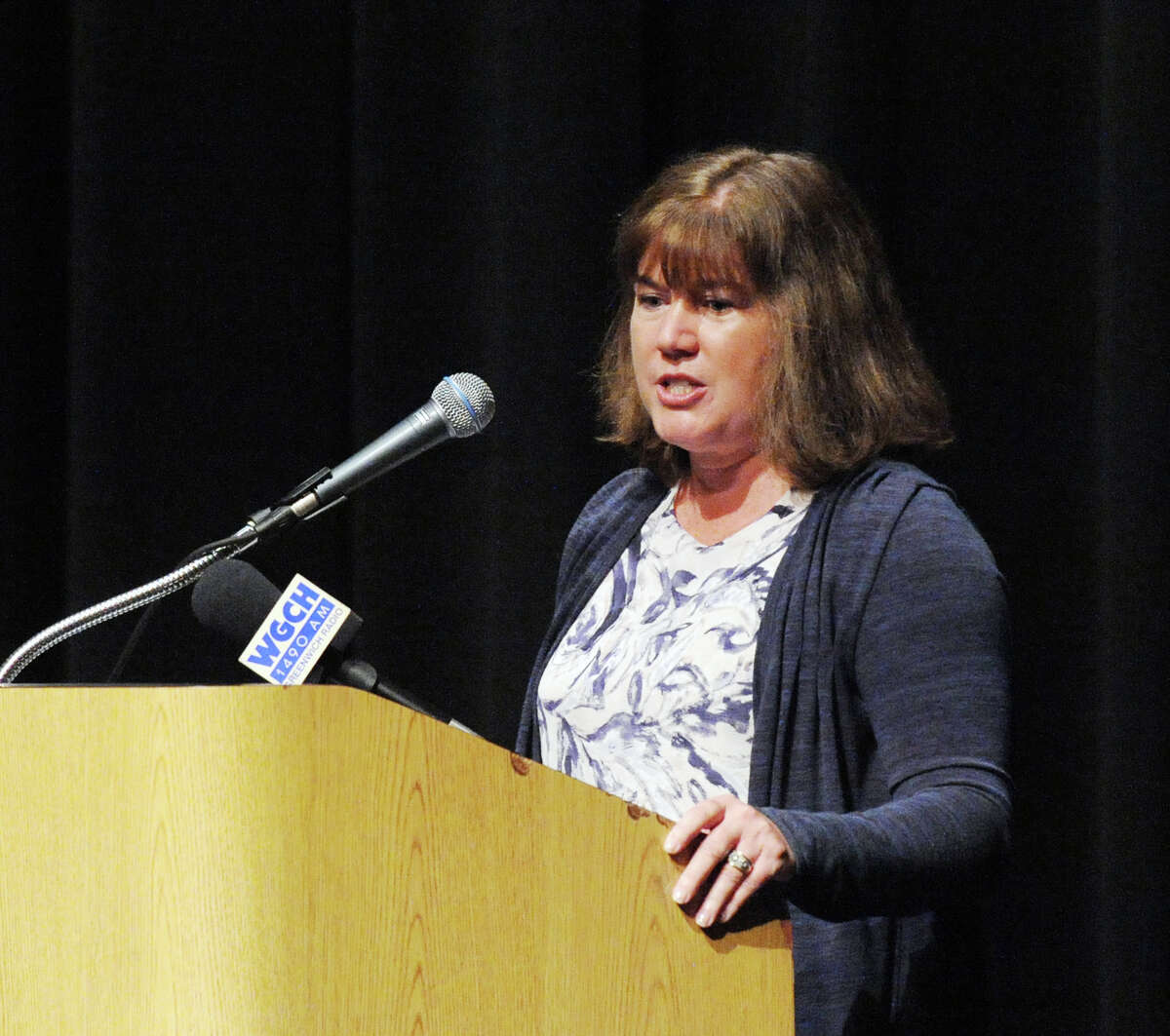 Laura Erickson, chair of the Board of Education, spoke during the Greenwich Public Schools Distinguished Teachers Awards Ceremony at the Greenwich High School Performing Arts Center, Conn., Tuesday, May 3, 2016. Six teachers were recognized for their excellence, Ana Chejin-Danielsen of New Lebanon School, Julie Cofone of North Mianus School, Sarah Goldin of Greenwich High School, Sarah Harris of North Mianus School, Jeannine Madoff of the International School of Dundee and Ian Tiedemann of Greenwich High School.