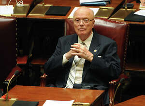 New York State Senator Hugh Farley sits in his seat during session in the senate chamber at the Capitol on Tuesday, May 3, 2016 in Albany N.Y. Farley, the state's longest serving state senator who has held his seat since 1977, announced he will not seek reelection. (Lori Van Buren / Times Union)