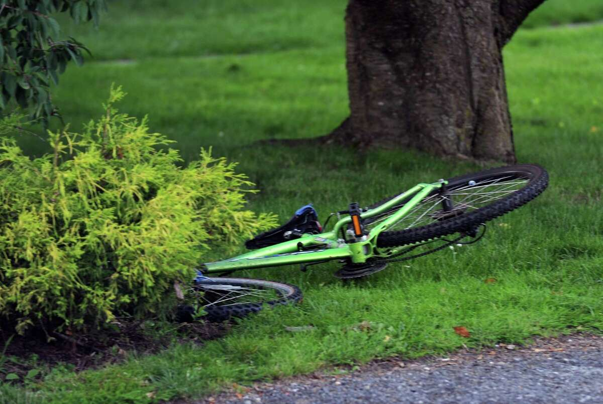 A shattered bicycle after a vehicle struck a bicyclist in Stamford's Glenbrook neighborhood in June of 2013.