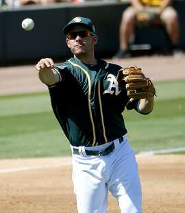 Oakland A's Danny Valencia throws out Los Angels Angels' Geovany Soto during the third inning of a spring training baseball game, Friday, March 25, 2016, in Mesa, Ariz. (AP Photo/Matt York)