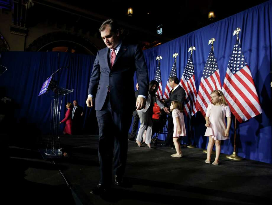 Republican presidential candidate, Sen. Ted Cruz, R-Texas, walks off the stage following a primary night campaign event, Tuesday, May 3, 2016, in Indianapolis. (AP Photo/Darron Cummings) Photo: Darron Cummings, Associated Press / Copyright 2016 The Associated Press. All rights reserved. This material may not be published, broadcast, rewritten or redistribu