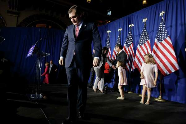 Republican presidential candidate, Sen. Ted Cruz, R-Texas, walks off the stage following a primary night campaign event, Tuesday, May 3, 2016, in Indianapolis. (AP Photo/Darron Cummings)