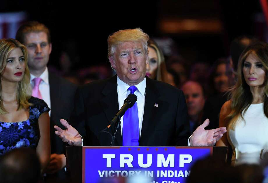 US Republican presidential candidate Donald Trump speaks in New York on May 3, 2016, following the primary in Indiana.  Republican Party chief Reince Priebus declared Tuesday that Donald Trump will be the presumptive Republican presidential nominee, after his main rival Ted Cruz dropped out of the race. / AFP PHOTO / Jewel SAMADJEWEL SAMAD/AFP/Getty Images Photo: JEWEL SAMAD, AFP/Getty Images / AFP or licensors