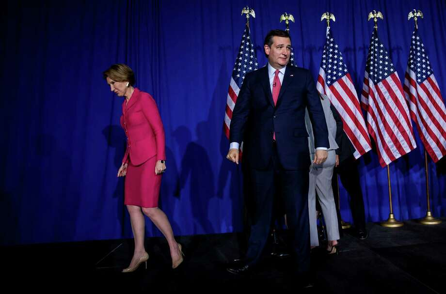 Sen. Ted Cruz and Carly Fiorina leave the stage after he suspended his presidential campaign at a primary night rally in Indianapolis, May 3, 2016. After Donald Trump was projected as the winner of Indiana's Republican primary, Cruz announced his withdrawal, all but assuring that Donald Trump will be the Republican nominee. (Eric Thayer/The New York Times) Photo: ERIC THAYER, STR / NYT / NYTNS