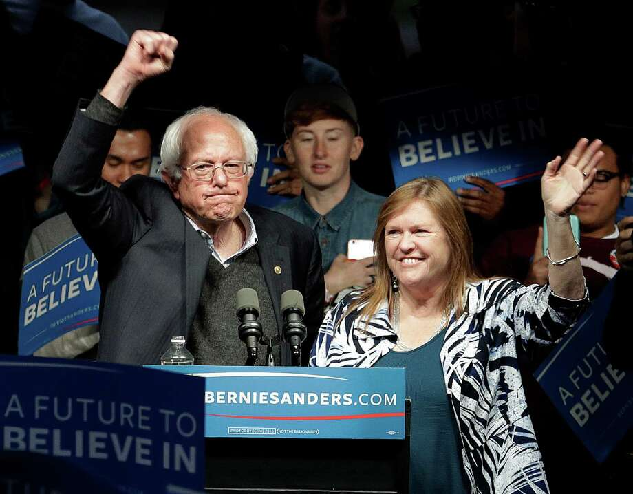 Democratic presidential candidate, Sen. Bernie Sanders, I-Vt., and his wife Jane O'Meara Sanders, wave after a campaign rally Tuesday, May 3, 2016, in Louisville, Ky. (AP Photo/Charlie Riedel) Photo: Charlie Riedel, STF / Associated Press / Copyright 2016 The Associated Press. All rights reserved. This material may not be published, broadcast, rewritten or redistribu