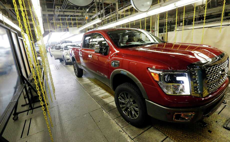 A Titan rolls off the line at a plant in Canton, Miss. Nissan's sales rose 12.8 percent in April.  Photo: Rogelio V. Solis, STF / Copyright 2016 The Associated Press. All rights reserved. This material may not be published, broadcast, rewritten or redistribu