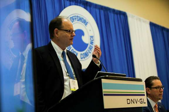 DNV GL Director of Division Americas, Peter Bjerager talks about combining renewable energy with the oil industry during the Offshore Technology Conference, Tuesday, May 3, 2016, in Houston. ( Marie D. De Jesus / Houston Chronicle )