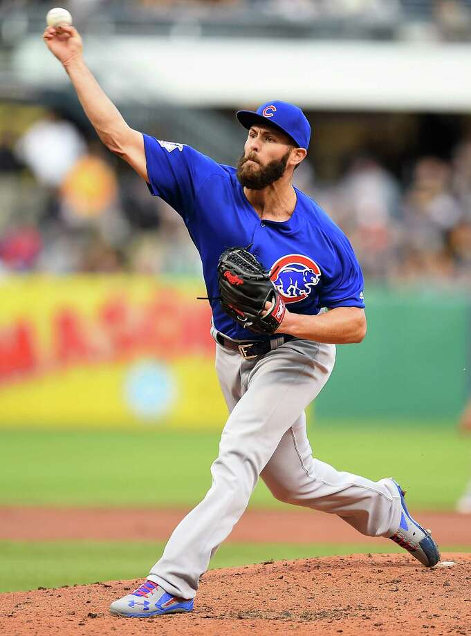 PITTSBURGH, PA - MAY 3:  Jake Arrieta #49 of the Chicago Cubs pitches during the second inning against the Pittsburgh Pirates on May 3, 2016 at PNC Park in Pittsburgh, Pennsylvania.  (Photo by Joe Sargent/Getty Images) ORG XMIT: 607676921 Photo: Joe Sargent / 2016 Getty Images