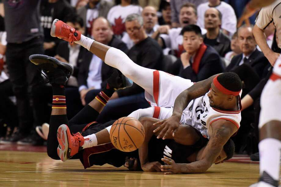 Toronto Raptors' Terrence Ross is fouled with four seconds left in regulation time against the Miami Heat during the second half in Game 1 of a second-round NBA basketball playoff series, Tuesday, May 3, 2016 in Toronto. (Frank Gunn/The Canadian Press via AP) MANDATORY CREDIT Photo: Frank Gunn, SUB / CP