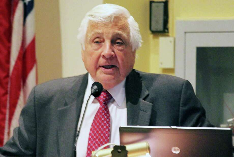 Superintendent of Schools Elliott Landon answers questions from Representative Town Meeting members about how school officials plan to absorb likely cuts in state education aid to the town. Photo: Westport News / Chris Marquette / Westport News