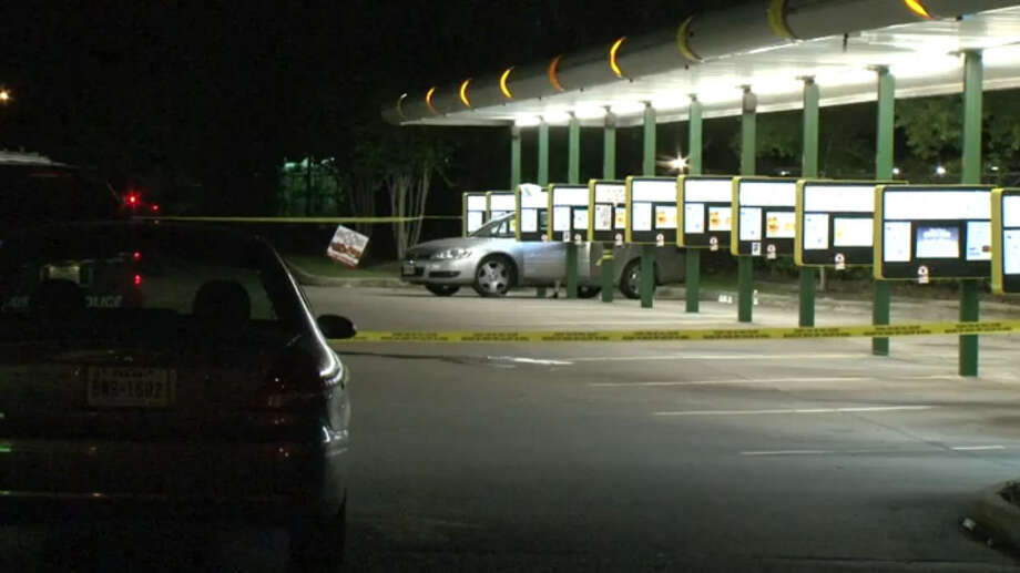 Workers and a customer must be thankful they are unhurt after a wild shootout Tuesday night at a fast-food restaurant that left two men dead in northwest Houston. Photo: Metro Video