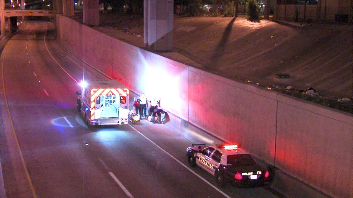 A man was seriously injured Wednesday morning after falling onto Interstate 35 from an embankment.