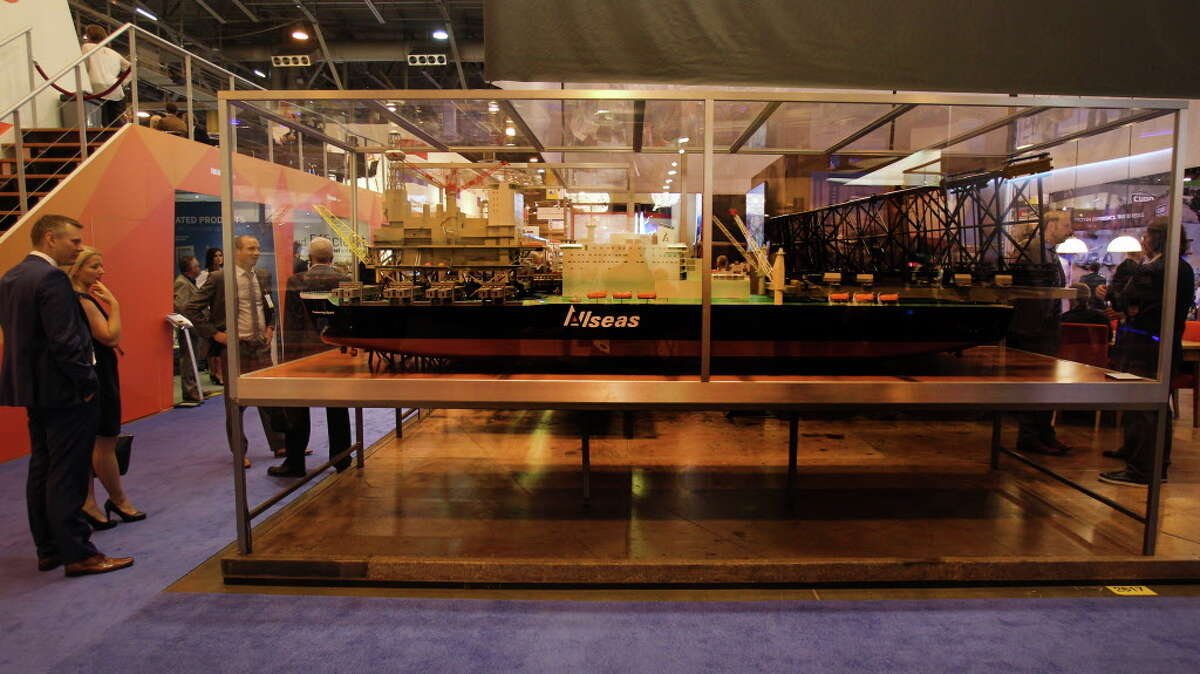 An Allseas model on display at the Offshore Technology Conference Tuesday, May 3, 2016, in Houston. ( Steve Gonzales / Houston Chronicle )