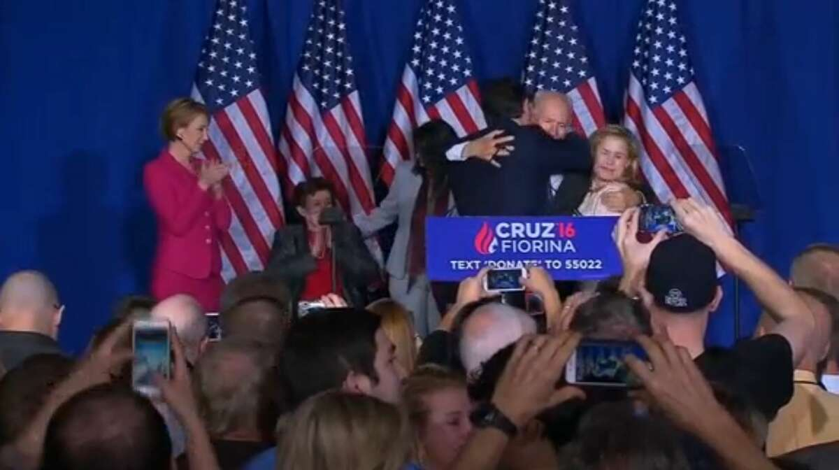 Freshman Texas senator Ted Cruz accidentally elbowed his wife Heidi Cruz in the face shortly after delivering a concession speech May 3, 2016 to supporters at the Crowne Plaza Downtown Union Station in Indianapolis. Cruz has dropped out of the Republican race for president.