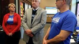 San Antonio Area Foundation CEO Dennis Noll, flanked by Big Give Planning team member Carrie Gray, left, and The Nonprofit Council Executive Director Scott McAninch, right, talks Tuesday afternoon May 3, 2016 about the problems Big Give SA had with donation processor Zimbia.