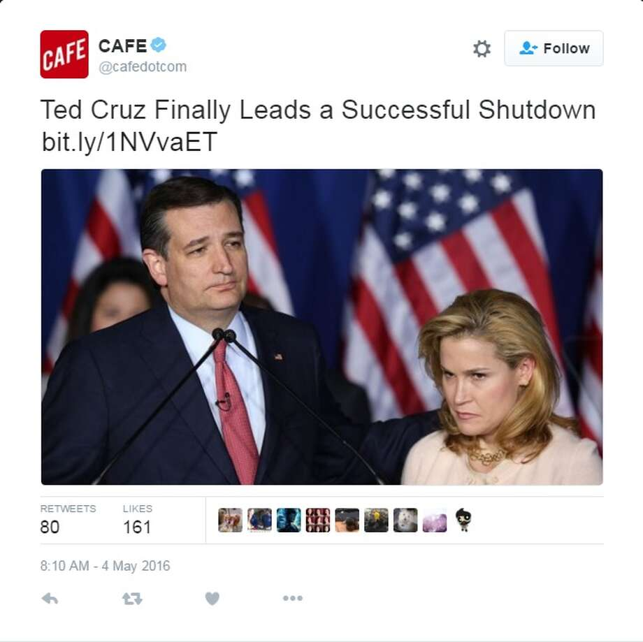 Texas Sen. Ted Cruz rose to national prominence after leading a 16-day federal government shutdown back in 2013, battling with President Barack Obama over health care reform.Twitter didn't let Cruz forget about the shutdown when he announced he was suspending his campaign for the presidency May 3, 2016.Via @cafedotcom Photo: Twitter