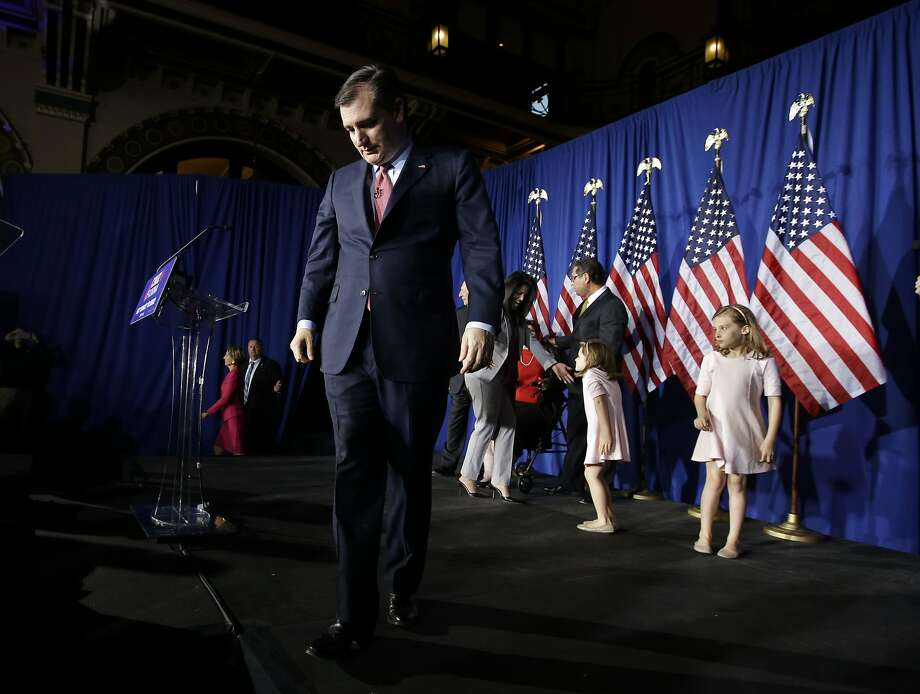 Republican presidential candidate, Sen. Ted Cruz, R-Texas, walks off the stage following a primary night campaign event, Tuesday, May 3, 2016, in Indianapolis. (AP Photo/Darron Cummings) Photo: Darron Cummings, Associated Press