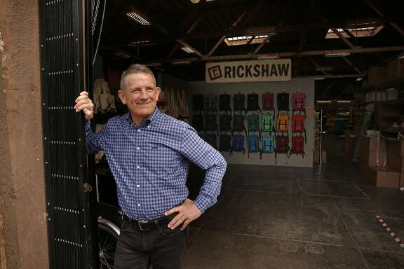Owner Mark  Dwight at his place of business, Rickshaw Bagworks in the Dogpatch neighborhood of San Francisco, California, on Wed. May 4, 2016.