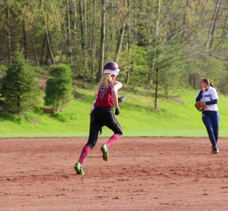 St.Luke's Kendall Boege heads to second. Photo: Contributed / New Canaan News