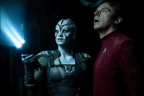 """In this image released by Paramount Pictures, Sofia Boutella, left, and Simon Pegg appear in a scene from, """"Star Trek Beyond,"""" in theaters nationwide on July 22. (Kimberley French/Paramount Pictures via AP)"""