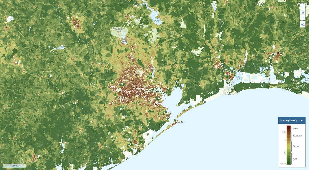 Houston's housing density in 2010
