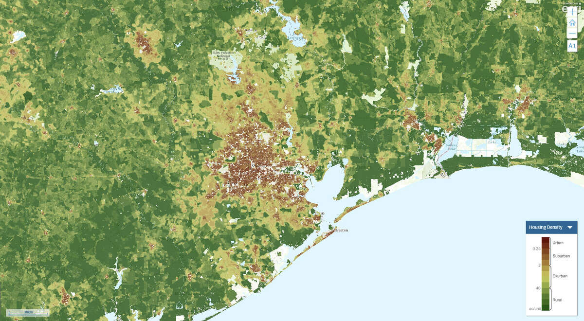 Houston's housing density in 2020