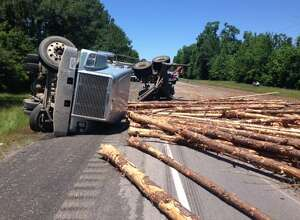 SH 87 is closed due to an overturned log truck approximately two miles south of FM1416 on May 4, 2016. (Photo courtesy of Texas Department of Transportation)