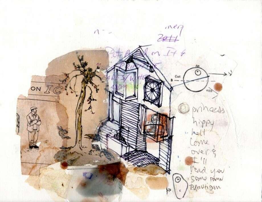 "Thomas Huber, ""Princess Hippy"", 2014, Mixed media on paper, 9"" x 12"""