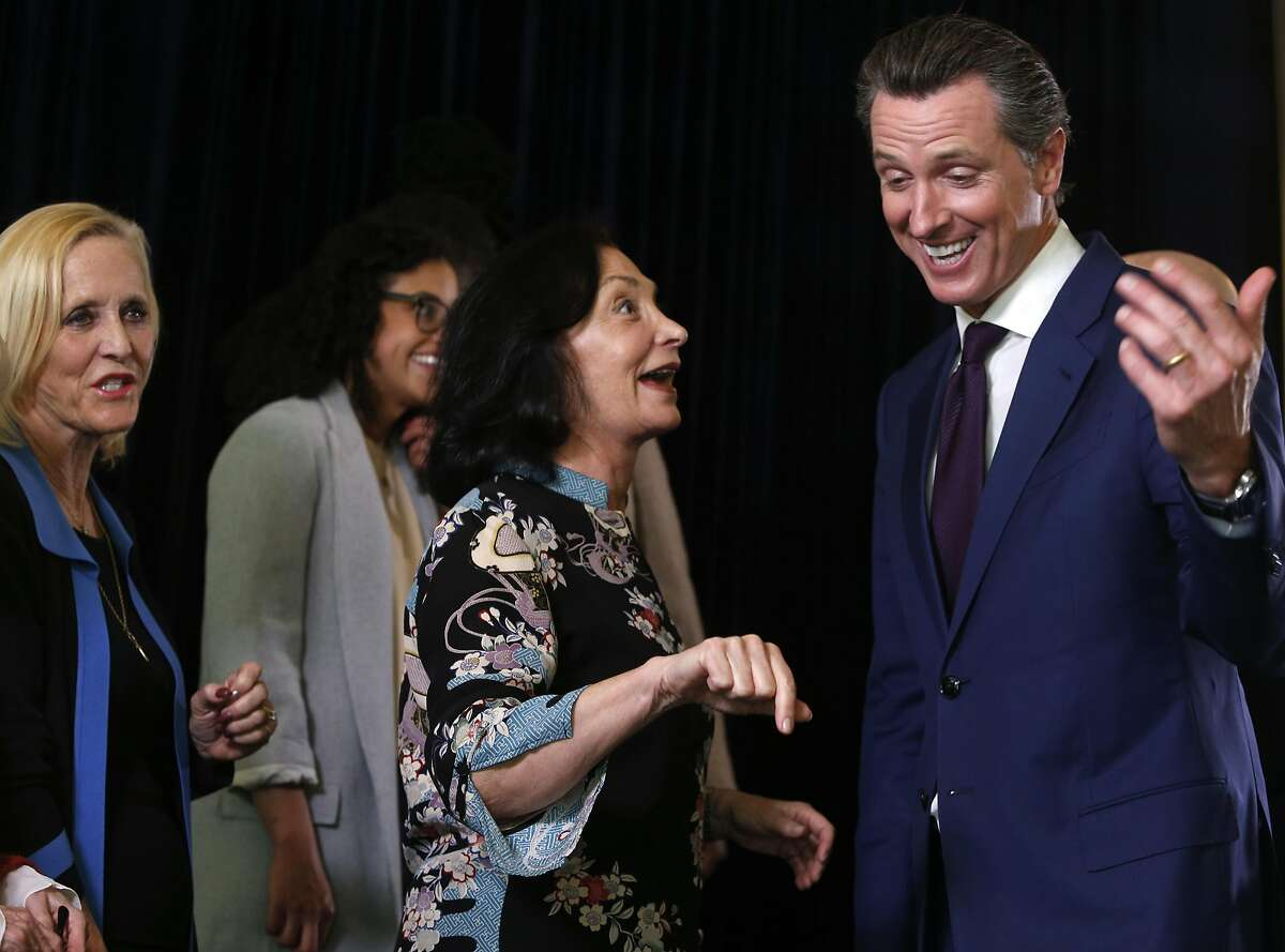 Lt. Gov. Gavin Newsom speaks with Marsha Rosenbaum after a news conference in San Francisco, Calif. on Wednesday, May 4, 2016 to announce the Adult Use of Marijuana Act has qualified for the November ballot.