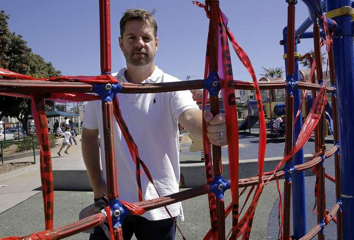 Supervisor Mark Farrel at the South Sunset Playground,  in San Francisco, Calif. on Sat. September 19, 2015, at one of the climbing pieces which has red danger tape covering it. San Francisco Supervisor Mark Farrell will formally introduce an initiative for the June 2016 ballot that will guarantee over $350 million of new dollars for the Recreation and Parks department.