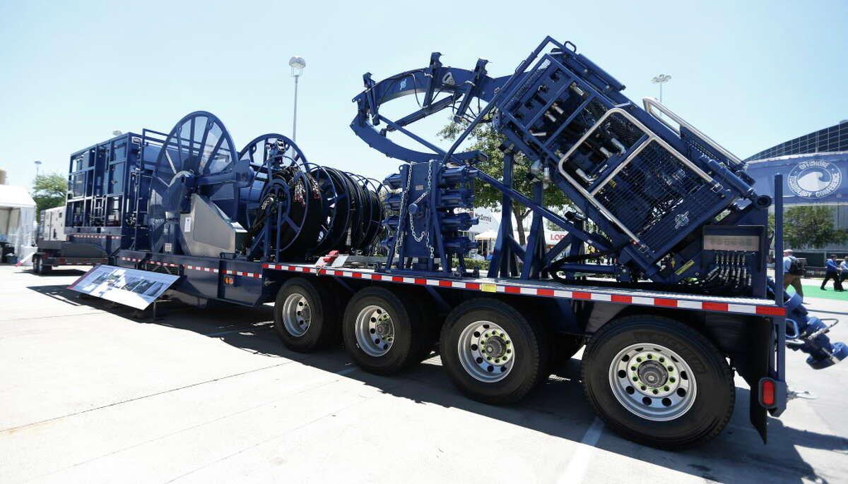 Stewart & Stevenson's Coil Tubing Unit on display outside at the 2016 Offshore Technology Conference at NRG Park, Wednesday, May 4, 2016, in Houston. ( Karen Warren / Houston Chronicle )