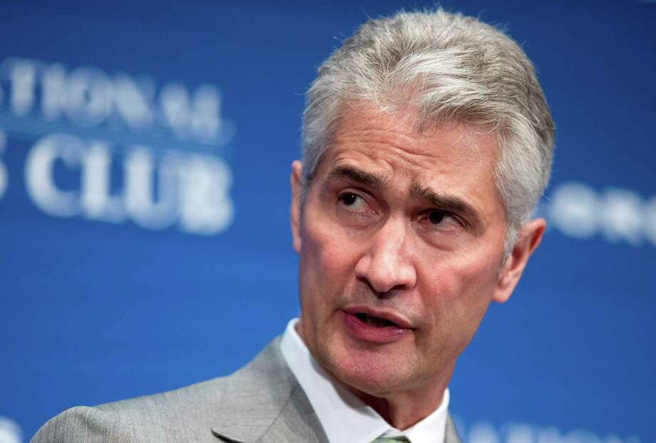 In this May 15, 2015, file photo, United Airlines Chairman, President and Chief Executive Officer Jeff Smisek, speaks during a panel discussion on unfair international competition at the National Press Club in Washington. United Airlines said Tuesday, Sept. 8, 2015, that Smisek has stepped down as CEO, chairman and president effective immediately and has named Oscar Munoz as president and chief executive officer.  (AP Photo/Manuel Balce Ceneta, File) Photo: Manuel Balce Ceneta, STF / AP