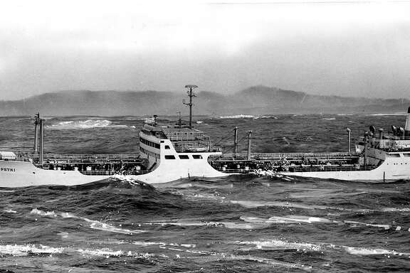 S.S. Angelo Petri, the world's largest wine tanker in distress off the coast of San Francisco   Photo ran 02/10/1960, p. 1