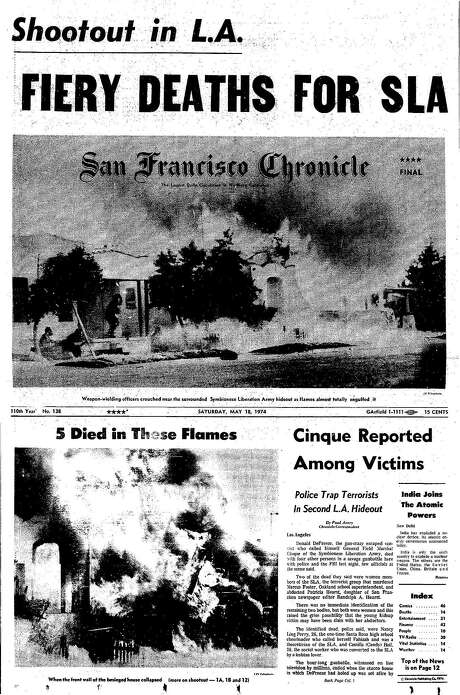 The Chronicle's front page from May 18, 1974, covers the police shootout in Los Angeles that killed members of the Symbionese Liberation Army.