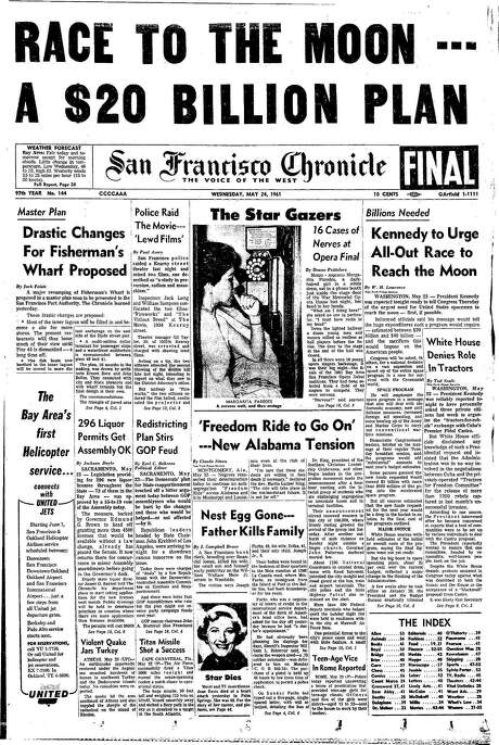 The Chronicle's front page from May 24, 1961, covers President John F. Kennedy's push to put an American on the moon.